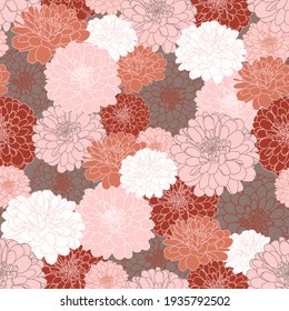 Seamless repeating pattern with hand drawn chrysanthemum flowers in grey, maroon, peach pink, terracotta, white. Decorative print for wallpaper, wrapping, textile, fabric, greetings.