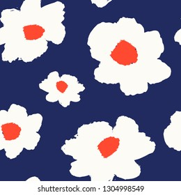 Seamless repeating pattern with hand painted flower blossoms in red, blue and white. Hand drawn vector illustration, perfect for creating fabrics, greeting cards, wrapping paper, packaging.