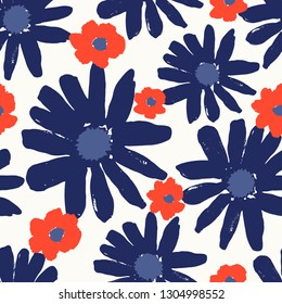 Seamless repeating pattern with hand painted flower blossoms in red, blue, navy and white. Hand drawn vector illustration, perfect for creating fabrics, greeting cards, wrapping paper, packaging.