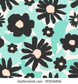 Seamless repeating pattern with hand painted gray flowers on a background of green brush strokes.