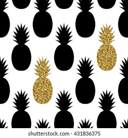 Seamless repeating pattern with pineapples in black and gold glitter on white background. Modern textile, greeting card, poster, wrapping paper designs.
