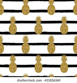 Seamless repeating pattern with pineapples in gold glitter on black and white stripes background. Modern textile, greeting card, poster, wrapping paper designs.