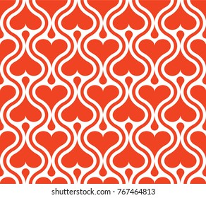 Seamless repeating pattern of red small and big hearts, vertical wavy stripes on white background. Design element for wallpapers, wedding invitations, birthday card, scrapbooking, fabric print etc.