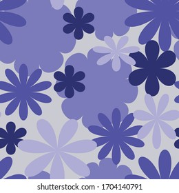 Seamless repeating pattern of retro flowers in shades of purple
