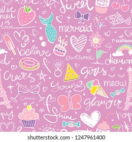 Seamless repeating pattern texture design with cute drawing elements / Vector illustration design for textile graphics, fashion fabrics, prints, wallpapers etc