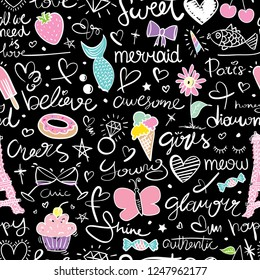 Seamless repeating pattern texture design with cute drawing elements / Hearts, food, mermaid / Vector illustration design for textile graphics, fashion fabrics, prints, wallpapers etc