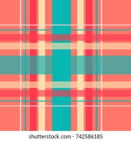 Seamless repeating plaid checkered background pattern in bright colors of teal, cream and red, over a coral red background