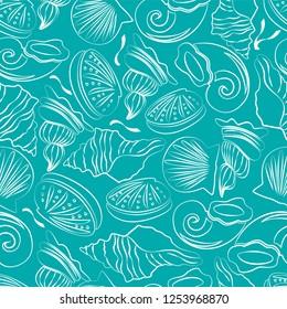 Seamless repeating sea shells pattern