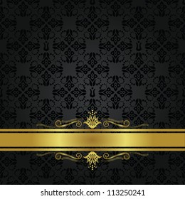 Seamless repetitive small black element pattern and gold ribbon. Can be used as a book cover or a menu cover.