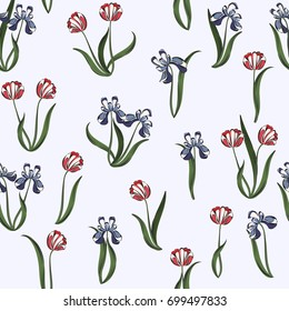Seamless retro 1940s liberty pattern in flowers of cute tulips, irises. Vintage floral background for textile, wallpaper, pattern fills, covers, surface, print, gift wrap, scrapbooking, decoupage.