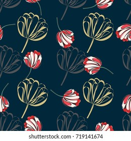 Seamless retro 1940s pattern in flowers of cute tulips. Vintage floral background for textile, wallpaper, pattern fills, covers, surface, print, gift wrap, scrapbooking, decoupage.