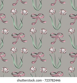 Seamless retro 1940s pattern in flowers of cute tulips, ribbons. Vintage floral background for textile, wallpaper, pattern fills, covers, surface, print, gift wrap, scrapbooking, decoupage.