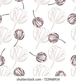 Seamless retro 1940s pattern in flowers of cute tulips. Vintage floral background for textile, wallpaper, pattern fills, covers, surface, print, wrap, scrapbooking, decoupage. Trendy colors.