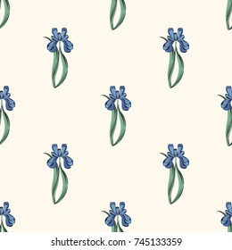Seamless retro 1940s pattern in flowers of cute irises. Vintage floral background for textile, wallpaper, pattern fills, covers, surface, print, wrap, scrapbooking, decoupage.