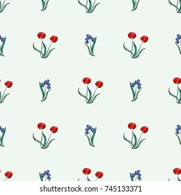 Seamless retro 1940s pattern in flowers of cute irises, tulips. Vintage floral background for textile, wallpaper, pattern fills, covers, surface, print, wrap, scrapbooking, decoupage.