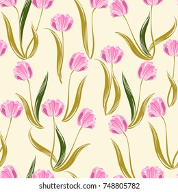 Seamless retro 1940s pattern in flowers of cute pink tulips. Vintage floral background for textile, wallpaper, pattern fills, covers, surface, print, gift wrap, scrapbooking, decoupage.
