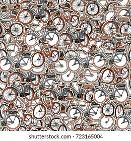 Seamless Retro Bicycle Pattern. Collage of Hand Drawn Stickers with Different Bicycles.