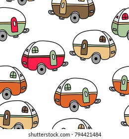 Seamless retro camping camper hand drawn doodle repeating pattern, over white background. Campers in orange, pink, green and yellow colors
