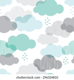 Seamless retro clouds and rain in the sky illustration blue scandinavian style background pattern in vector