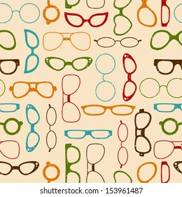 Seamless retro color pattern with glasses for textiles, interior design, for book design, website background.