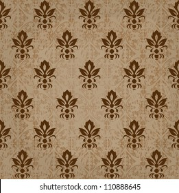 seamless retro damask vector pattern in brown