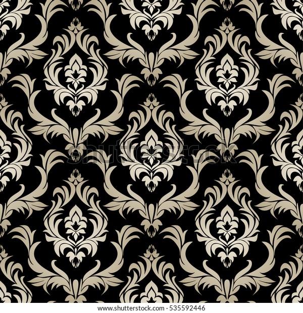 Seamless Retro Damask Wallpaper Silver Floral Stock Vector