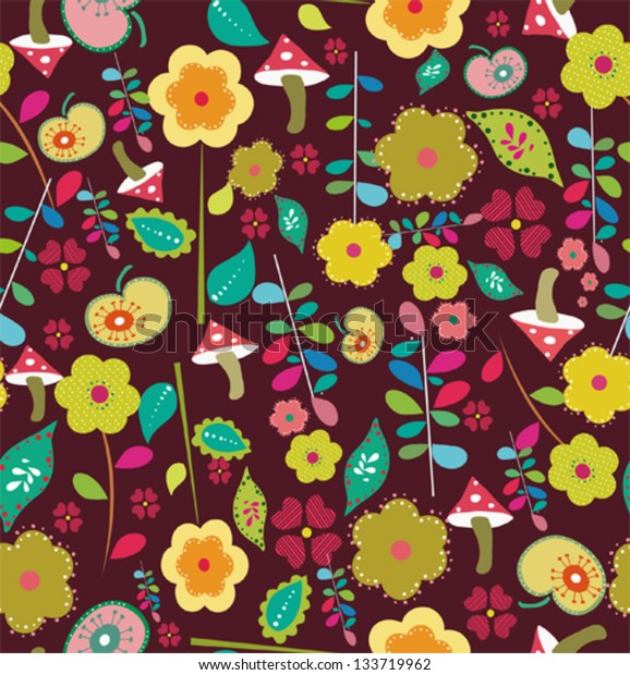 Seamless retro flower leaf illustration pattern background in vector