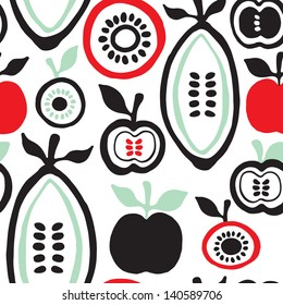 Seamless retro fruits and seeds illustration background pattern in vector
