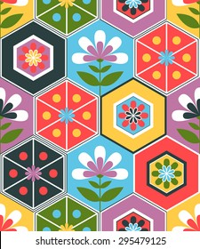 Seamless retro hexagon pattern background with nature and flower elements. Vector tiled texture.