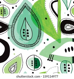 Seamless retro jungle leafs and exotic illustration background pattern in vector