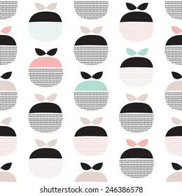 Seamless retro pastel fruit illustration Scandinavian style apple pattern background in vector