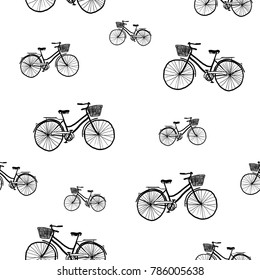 Seamless retro pattern with bicycles - textile or bedsheet quirky design vector.