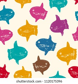 Seamless Retro Pattern with Hand drawn  Colored Contours of Ocean Sunfish