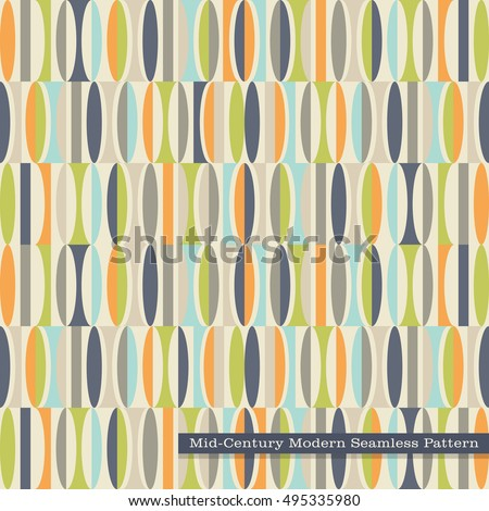 Seamless Retro Pattern In Mid Century Modern Style Abstract Ovals Vintage Colors