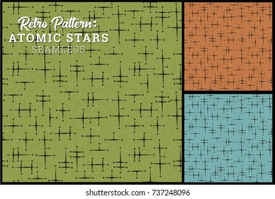 Seamless Retro Star Pattern in 3 vintage color options