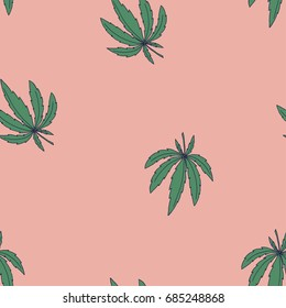 Seamless retro vintage vector pattern with marijuana leaves for wrapping, wallpaper, ceramic, craft, textile, fabric