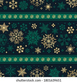 Seamless ribbon with Christmas snowflake pattern. Green and gold colors.