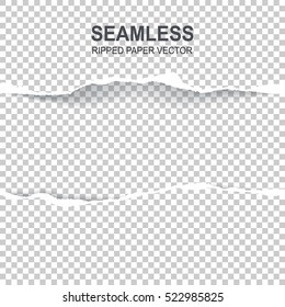 Seamless ripped paper and transparent background with space for text,  vector art and illustration.