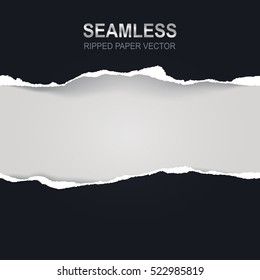 Seamless ripped paper and white background with space for text,  vector art and illustration.