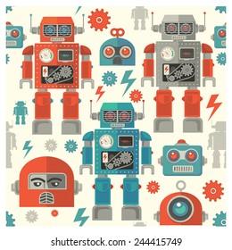 seamless Robot face pattern,cartoon vector illustration