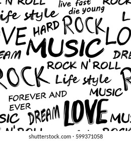 Seamless Rock Music festival pattern. Rock and roll typography, vector.
