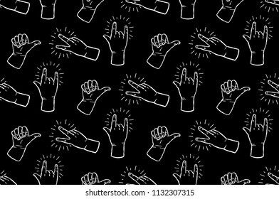 Seamless rock and roll hands - peace, thumbs up and rock on hands