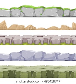 Seamless Rocky Landscape And Stony Grounds For Game Ui/ Illustration of a set of seamless mountains range with patterns of rock, stones and hand made mountains relief for game user interface