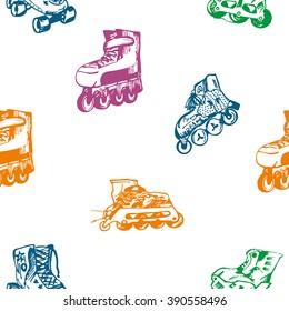 Seamless roller skating background pattern.Vector Illustration