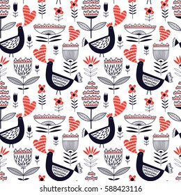 Seamless romantic floral vector pattern with black chickens and red hearts