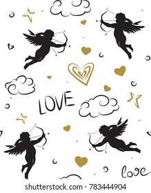 Seamless romantic pattern with cupids. Love symbols, signs, icons. Valentine's day or wedding background.