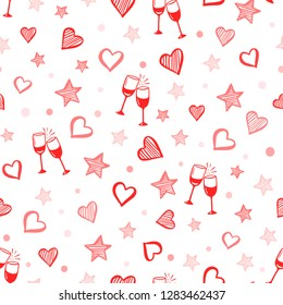 Seamless romantic pattern. Vector illustration for Valentine's day. Hearts, glasses of wine, stars, cute pattern. Hand drawn backdrop.