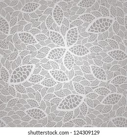 Seamless romantic silver lace leaves wallpaper pattern. This image is a vector illustration.