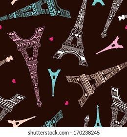 Seamless romantic valentine eiffel tower amour city background pattern in vector