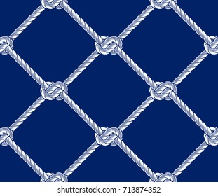 Seamless rope net with knots pattern illustration on a dark blue background.